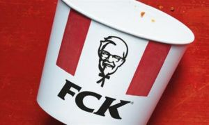 Pictured: a screenshot of KFC's famous FCK ad, which helped the chain to emerge from a chicken shortage ordeal without any lasting brand damage.