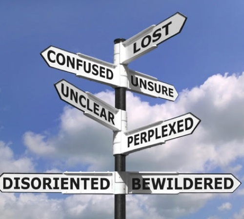 "Pictured: a sign post with signs on it that say ""Lost"", ""Confused"", ""Unsure"", ""Unclear"", and so on. The image symbolizes the uncertainty of our times and the risks brands are facing in the current economy and political climates."