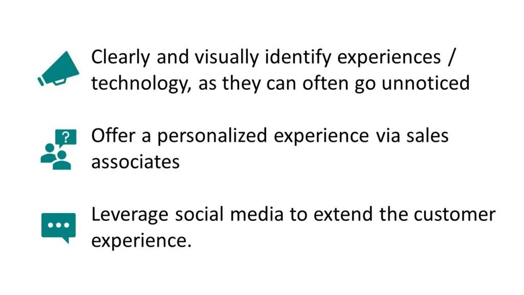 "Pictured: three main points with icons and text. The top point says ""Clearly and visually identify experiences / technology, as they often go unnoticed."" The middle point says ""Offer a personalized experience via sales associates."" The bottom point says ""Leverage social media to extend the customer experience."""