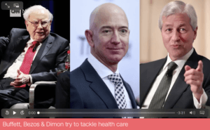 Pictured: a mashup image with Jeff Bezos, Jamie Dimon, and Warren Buffett.