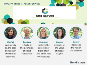 Pictured: a custom image featuring the five partners who offered their perspectives on the 2018 Greenbook Research Industry Trends (GRIT) Report.