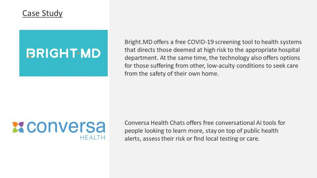 This image shows two case studies. The first is Bright.MD and says Bright.MD offers a free COVID-19 screening tool to health systems that directs those deemed at high risk to the appropriate hospital department. At the same time, the technology also offers options for those suffering from other, low-acuity conditions to seek care from the safety of their own home. The second is Conversa Health and says Conversa Health Chats offers free conversational AI tools for people looking to learn more, stay on top of public health alerts, assess their risk or find local testing or care.